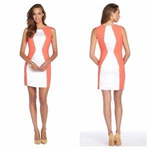 Aryn K Color Block Dress (Coral) Rue La La